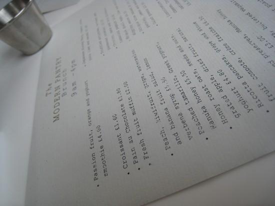 Modern Pantry menu