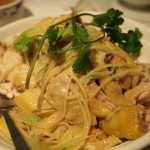 Steamed chicken with ginger and green onion