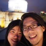 My sister and I in front of St Pauls