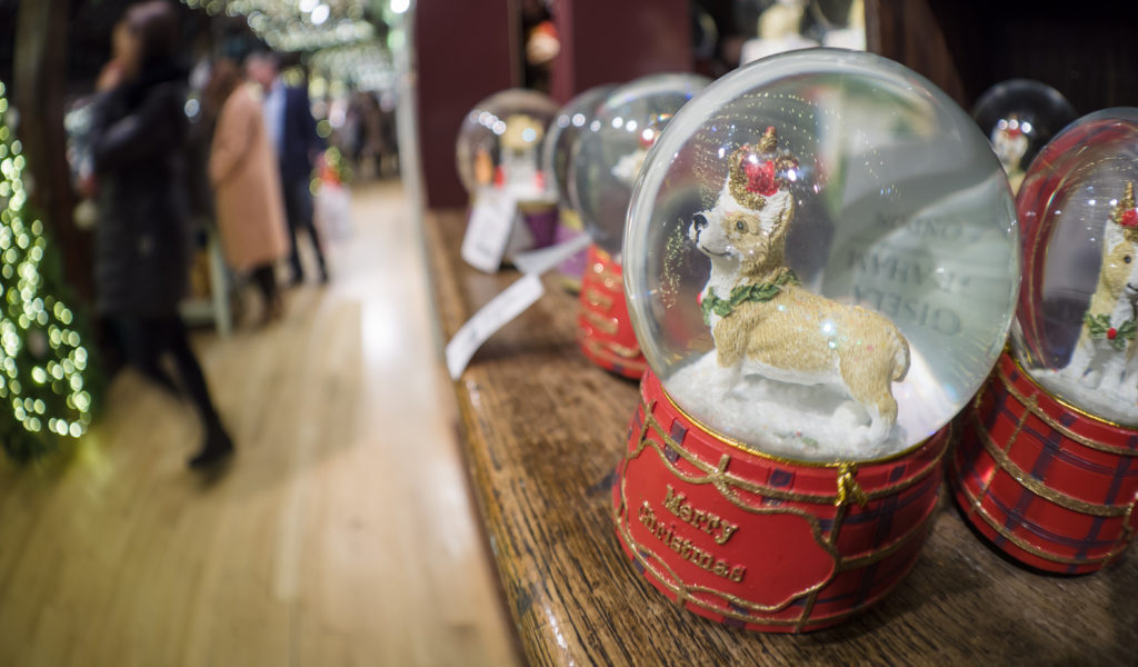 Snow globe with a corgi dog, where the snow has settled at the bottom